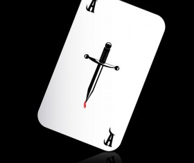 A playing cards with black background vector 02