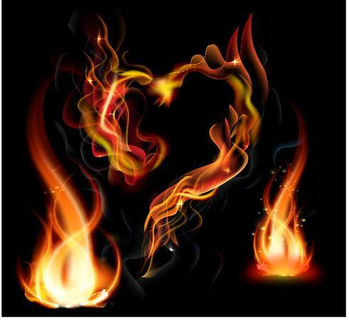 Abstract fire with heart vector