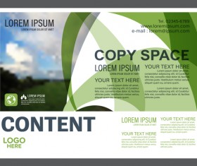 Abstract green styles flyer with brochure cover template vector 02