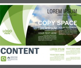 Abstract green styles flyer with brochure cover template vector 03