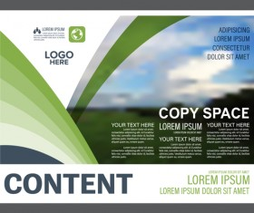 Abstract green styles flyer with brochure cover template vector 07
