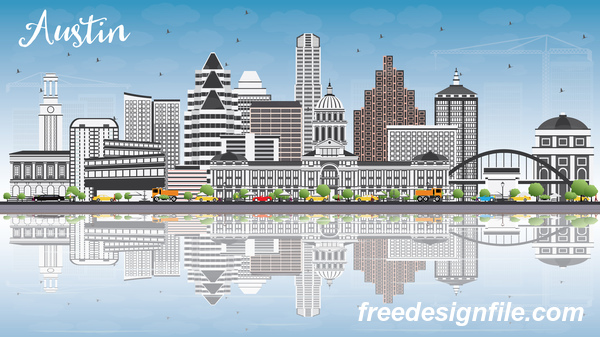 Austin city landscape vectors