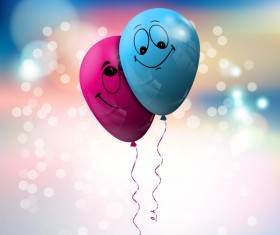 Balloon with love background vector 01