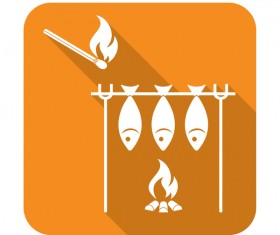 Barbecue fish icon