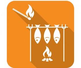 Barbecue fish icon