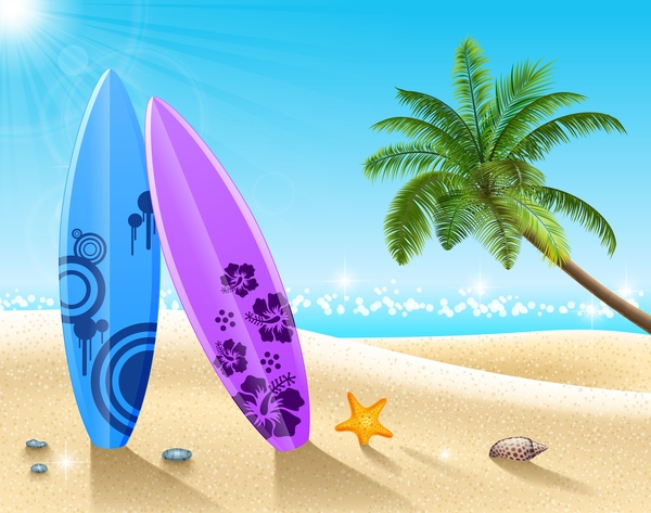 Beach with summer travel background vectors