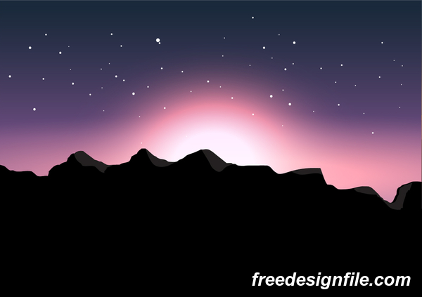 Beautiful mountain landscape vector 02