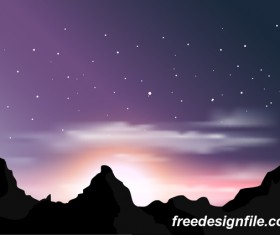 Beautiful mountain landscape vector 03