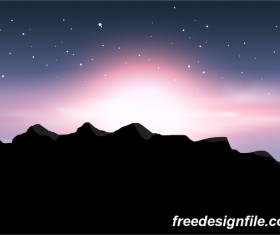 Beautiful mountain landscape vector 04