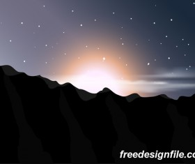 Beautiful mountain landscape vector 05