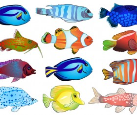 Beautiful tropical fish vector set 02