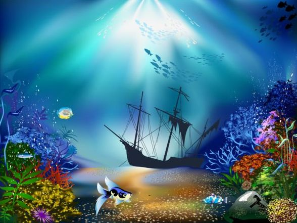 Beautiful underwater world vector material 01