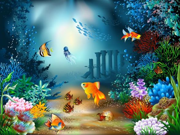 Beautiful underwater world vector material 03