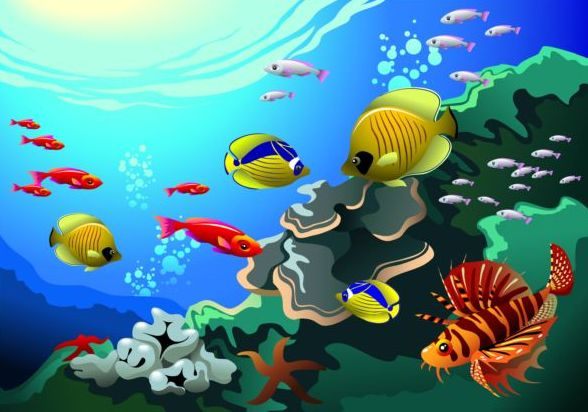Beautiful underwater world vector material 04