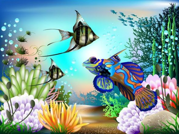 Beautiful underwater world vector material 05