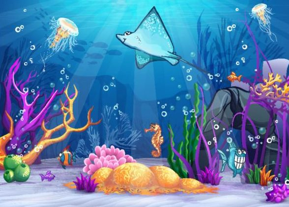 Beautiful underwater world vector material 08