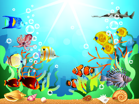 Beautiful underwater world vector material 09