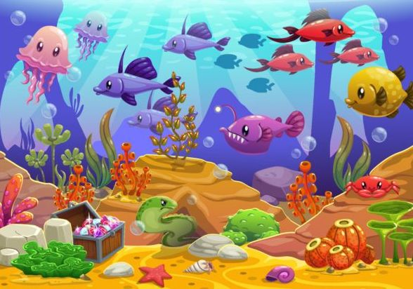 Beautiful underwater world vector material 10