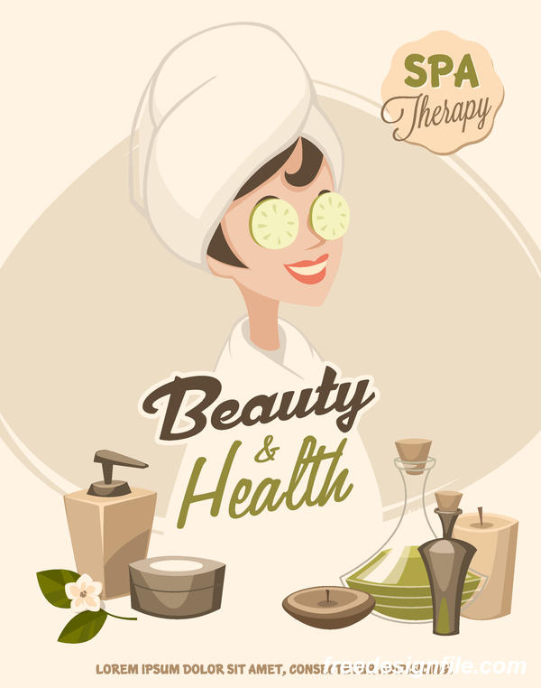 Beauty with health spa poster vectors template 01