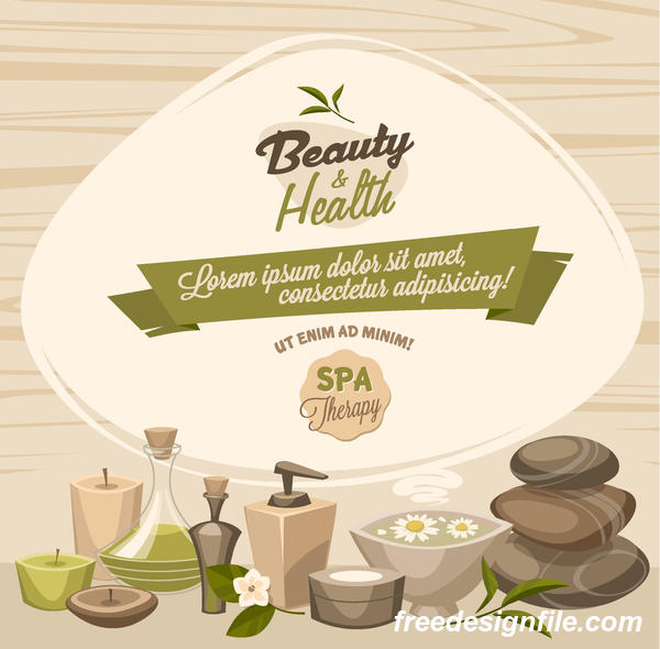 Beauty with health spa poster vectors template 02