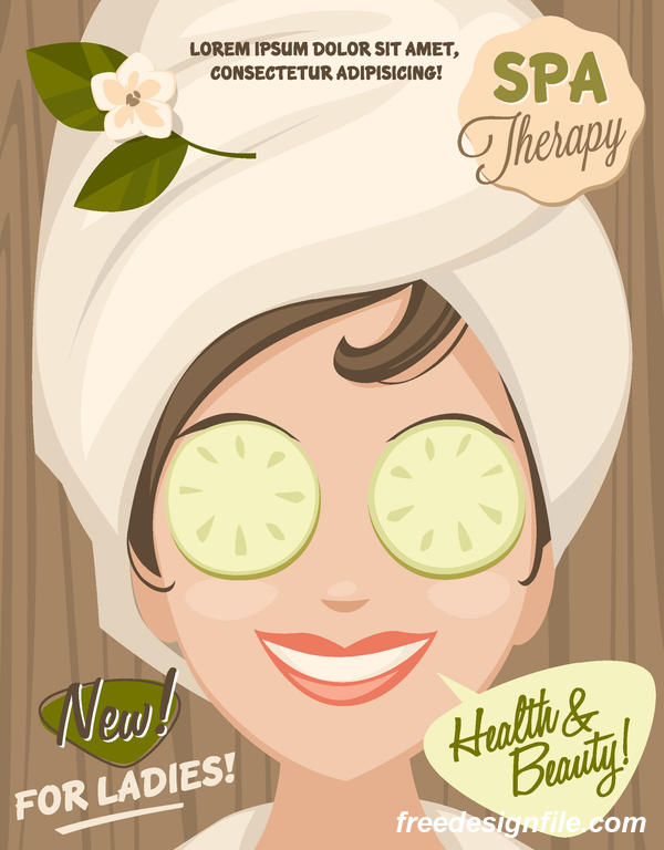Beauty with health spa poster vectors template 03
