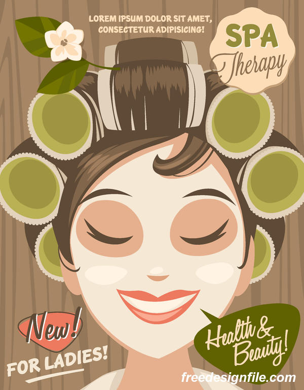 Beauty with health spa poster vectors template 04