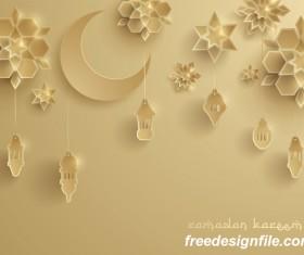 Beige ramadan background with decor glantern vector 01