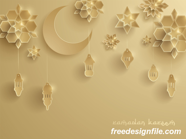 Beige ramadan background with decor glantern vector 01