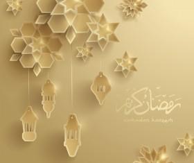 Beige ramadan background with decor glantern vector 02