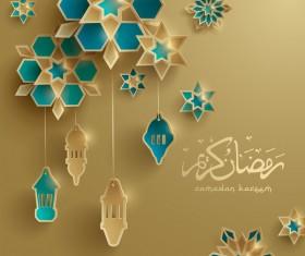 Beige ramadan background with decor glantern vector 03