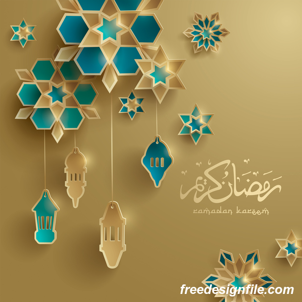 Beige ramadan background with decor glantern vector 03