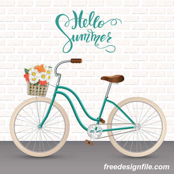 Bicycle with wall background vector