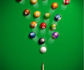 Billiard with green background vector