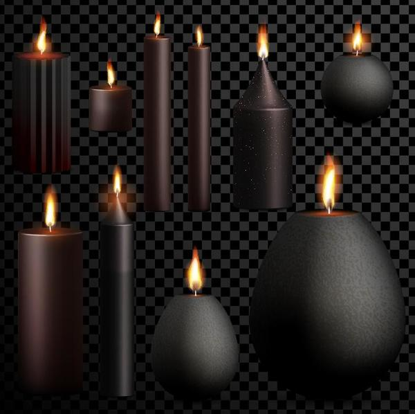 Black candle vector material
