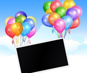 Black photo frame with colored balloon vector