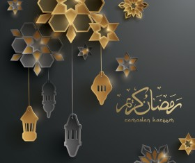 Black ramadan background with decor glantern vector 02