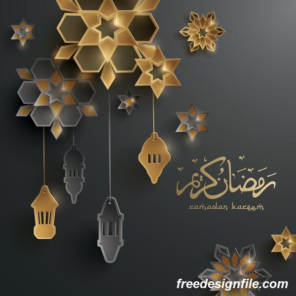 Black ramadan background with decor glantern vector 02