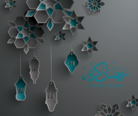 Black ramadan background with decor glantern vector 03