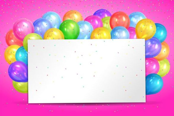 Blank Birthday Card With Color Balloon Vector Free Download