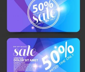 Blue discounts card vector