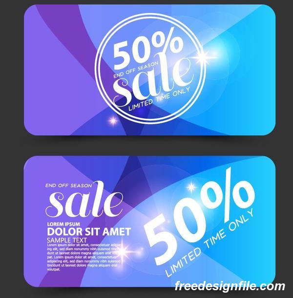 Blue discounts card vector