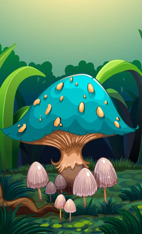 Blue mushroom with cartoon vector