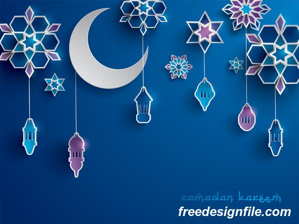 Blue ramadan background with decor glantern vector 01