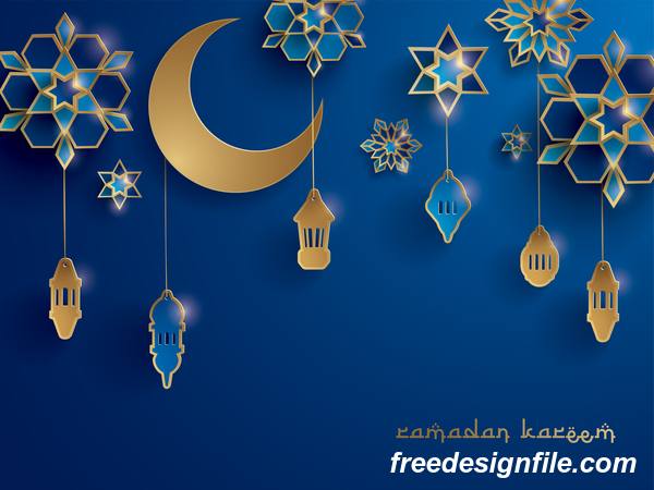 Blue ramadan background with decor glantern vector 02