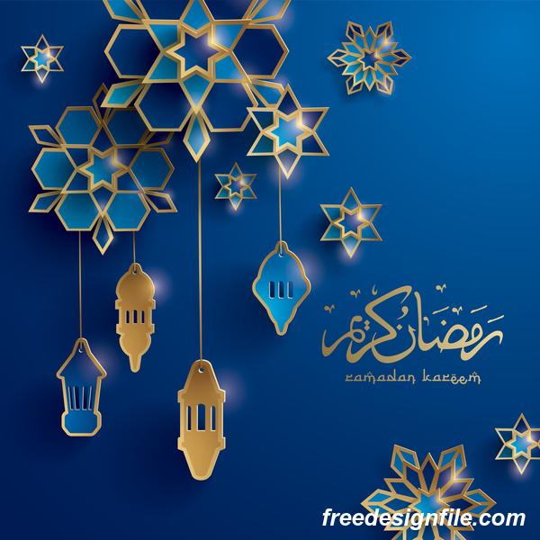 Blue ramadan background with decor glantern vector 03