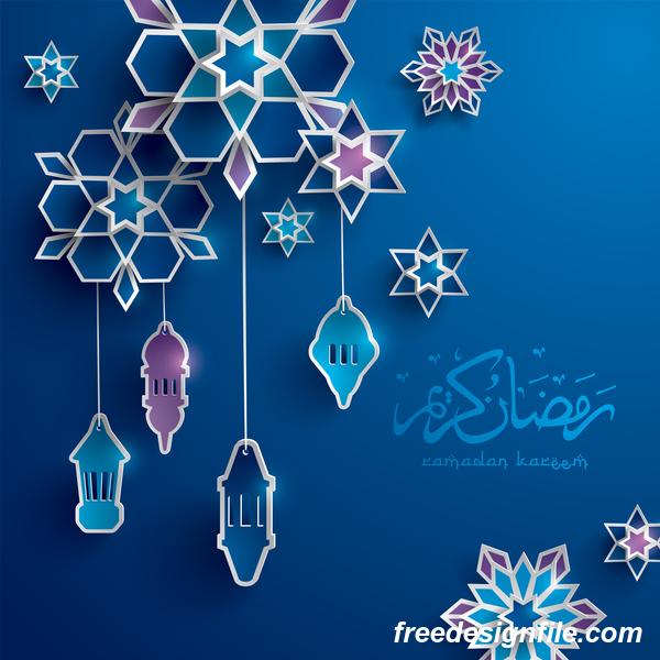 Blue ramadan background with decor glantern vector 04