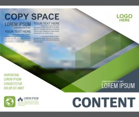 Blue with green styles flyer and cover brochure vector template 10