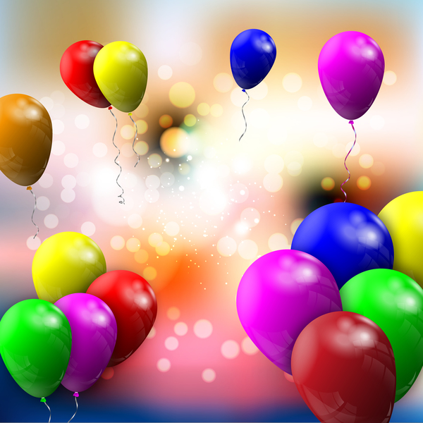 Bokeh background with colorful balloon vector