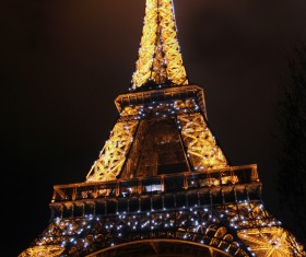 Brightly lit Eiffel Tower Stock Photo