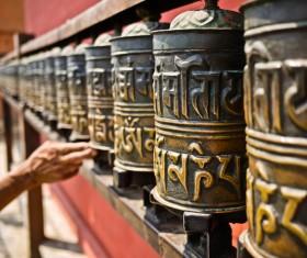 Buddhist prayer wheels HD picture